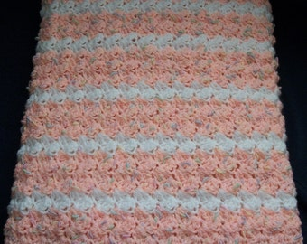 Crochet Baby Blanket Travel Sized Peach & White Striped Baby Afghan Crochet Baby Blanket Baby Girl Blanket Stroller Blanket Car Seat Blanket