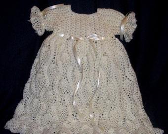 Heirloom Antique white Crochet Baby Gown Baptism Set Christening Gown Set Set 0-6months Baby Dedication Ensemble