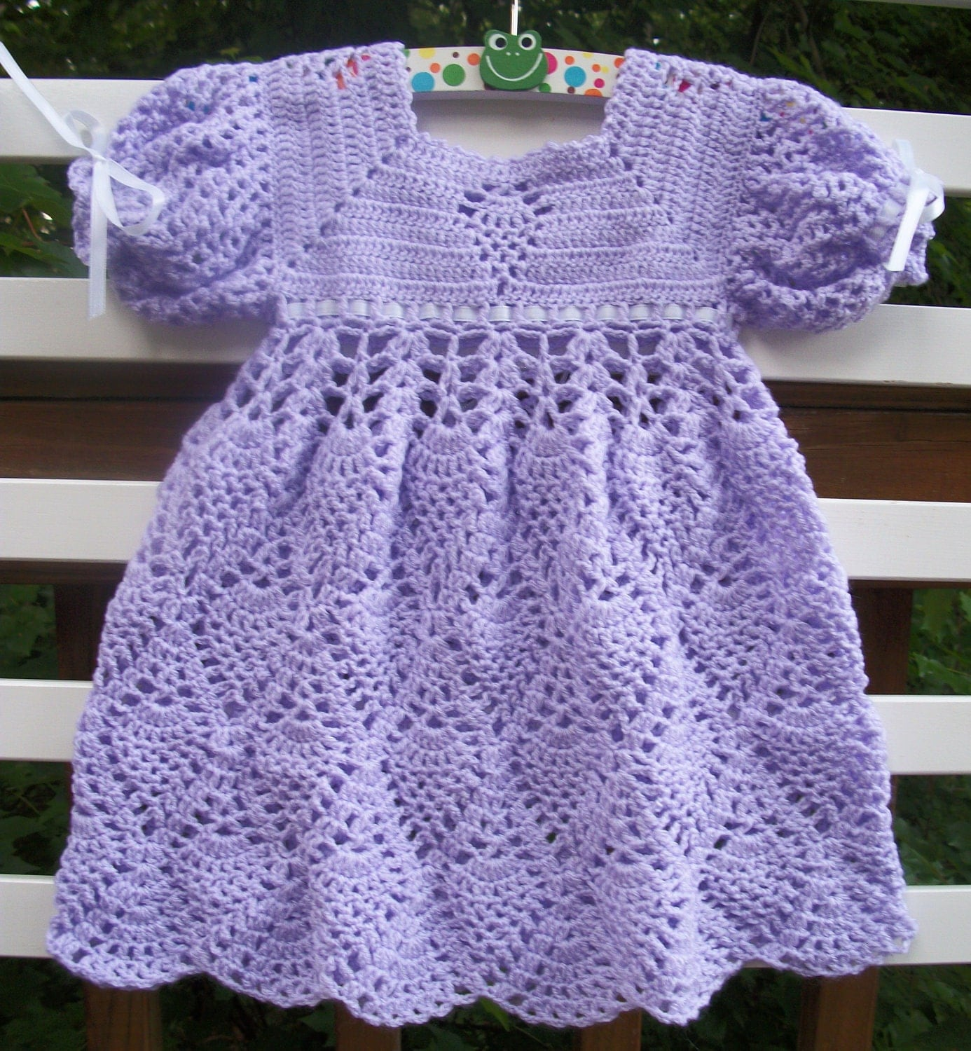 Crochet Baby Dress Lavender READY TO by