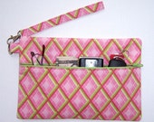 Wristlet Clutch Wallet, Pink and Light Green Wristlet, Diamond Pattern Purse, Pink Makeup Bag