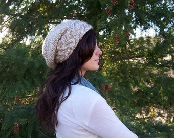 Cream Hand Knit Slouch Hat, Womens Cabeled Knit Beanie, Teen Rasta Hat, Neutral Colored Chunky Yarn Knit Girls Slouchy Hat