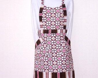 Pink Brown White Apron, Womens Full Apron, Pink Brown Striped Contrast, Geometric Print Apron
