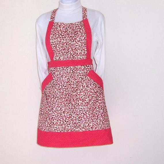 Floral Pink Brown Cream Apron, Full Womens Apron, Brown Vines Pink Dot Contrast Cute Kitchen Apron, Metallic Threads Apron