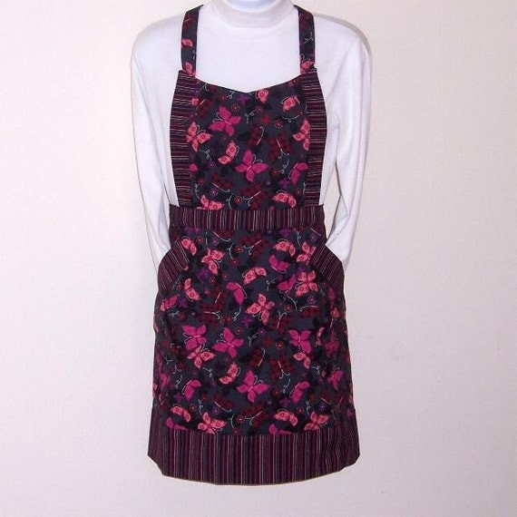 Black Pink Womens Full Apron, Butterfly Print Apron, Pink Black Striped Contrast Apron