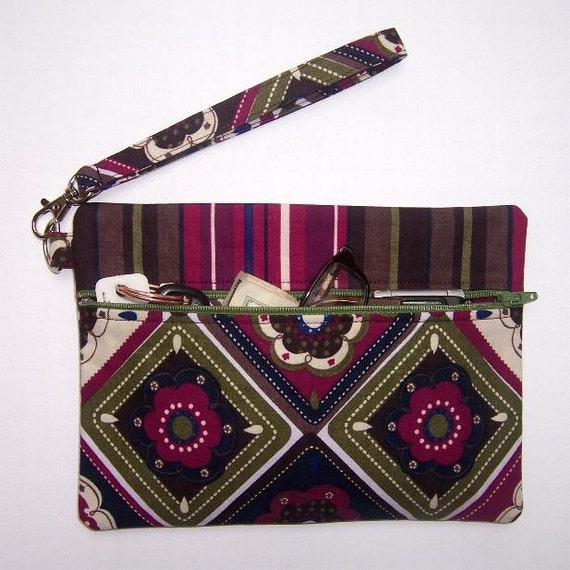 Maroon Green Wristlet Clutch Wallet Geometric Floral With Navy Blue Green and Maroon Striped Contrast