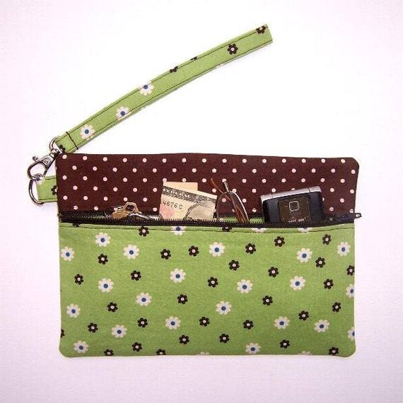 Green Brown Floral Wristlet Clutch Brown Polka Dot Contrast Wallet Purse