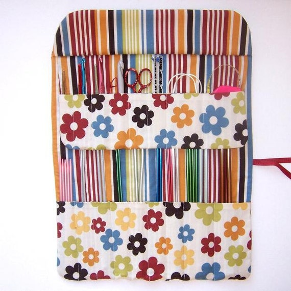 Blue Yellow Knitting Needle Holder Flowers With Striped Contrast Crochet Hook Case Storage Organizer