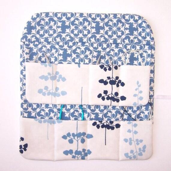 Circular Knitting Needle Case Holder Storage Blue Flowers on White