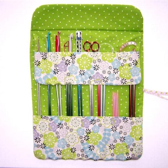 Lime Green Knitting Needle Holder Storage Crochet Hook Organizer Roll Green Polka Dot Contrast