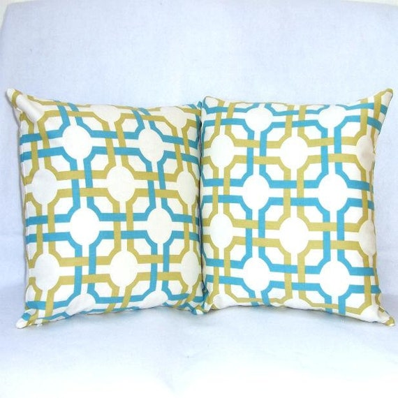 turquoise pillow covers 16 x 16 decorative pillow. Black Bedroom Furniture Sets. Home Design Ideas