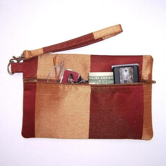 Gold Rust Striped Evening Wristlet Clutch, Formal Wallet Purse, Satin Makeup Bag, Camera Phone or Gadget Bag