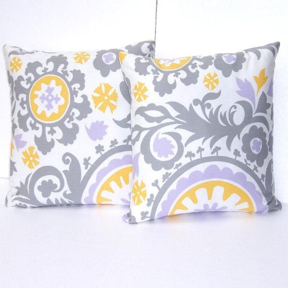 "Lavender Throw Pillow Covers 18"" x 18"" Yellow Grey White Set of Two"