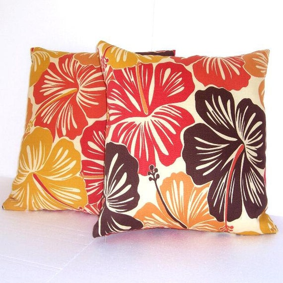 "Decorative Pillow Covers 18"" x 18"" Orange Gold Brown Cream Flowers Accent Pillow Covers"