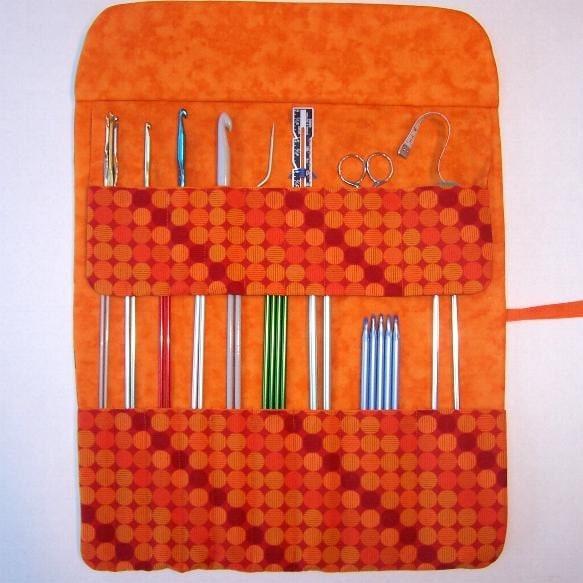 Knitting Needle Cases Storage : Orange knitting needle holder crochet hook case storage roll