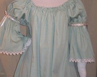 DDNJ Choose Color Renaissance 1 tier Bell Slv Sweetpea Chemise Plus Custom Made ANY Size Fairy Princess Anime Lolita Victorian Sissy Costume