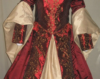 DDNJ Renaissance Tudor Style Fantasy Embroidered 6pc Gown Plus Custom Made ANY Size Wedding Queen Princess Fairy Mardigras Court Royalty