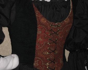 DDNJ Choose Fabrics Reversible Demi Corset Style Bodice Chemise Skirt 3pc Plus Custom Made ANY Size Renaissance Pirate Anime Steampunk