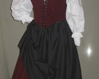 DDNJ Choose Fabrics Renaissance Reversible Corset Style Bodice Chemise Skirt 4pc Plus Custom Made ANY Size Anime Costume Gypsy Pirate Wench
