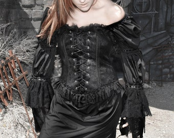 DDNJ Choose Color 2 Tier Victorian Lace Chemise Renaissance Vampire Goth Gypsy Plus Custom Made Your Measurements Anime Costume Steampunk