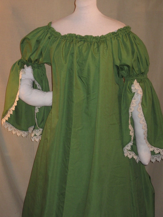 DDNJ Choose Color I tier Split Trumpet  Chemise Renaissance Cosplay Anime Gypsy Fairy Plus Custom Made ANY Size LARP Pirate Wench Costume