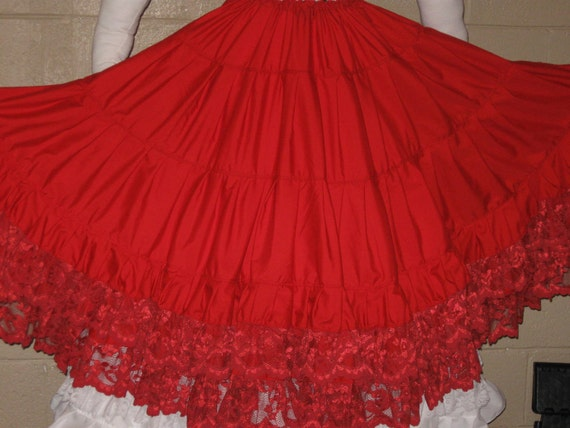 DDNJ Renaissance Red Cotton Lace Multi Tier Skirt Hoop Petticoat Crinoline Civil War Pirate Gypsy Wedding Anime Quincetta Costume Victorian