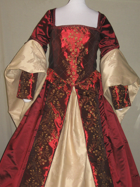 Ddnj renaissance tudor style fantasy embroidered 6pc gown plus for Tudor style wedding dress