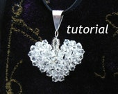Instant Download TUTORIAL Jewelry Tutorials Pendant  How to make a Crystal Puffy Heart Beaded Pendant. . No 12