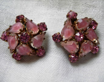 vintage pink rhinestone earrings from West Germany