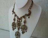 1940s necklace / Rare Massive 40's Filigree Bib Statement Necklace Must See