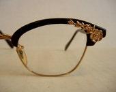 Floral Embellished Vintage 50's American Optical Glasses 12K Gold Trim