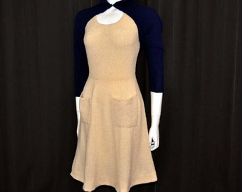 1940s dress / Jitter Bug Queen / Vintage 40's Knit Dress / With Super Cropped Bolero Shrug