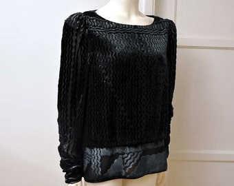 1980s blouse / Vintage 80's Mary McFadden Art Deco Burn Out Velvet Tunic Top