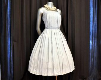 vintage 1950s dress / Vintage Dress / Birdcage Pleats 50's Dusty Blue Pleated