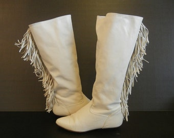 1980's Boots / Bad to the Bone Vintage 80's Boho Zodiac Tall Flat Fringe  Boots
