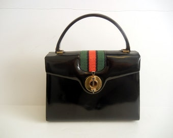 1960's Purse / Vintage 60's Red Green Stripe Embellished Black Kelly Bag