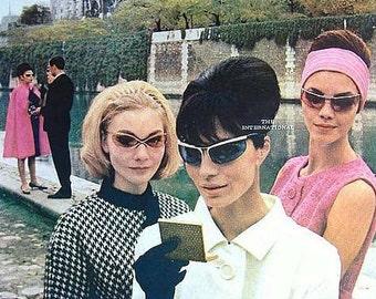 wrap around sunglasses / Blue Lense Vintage 60's Renauld France Sunglasses