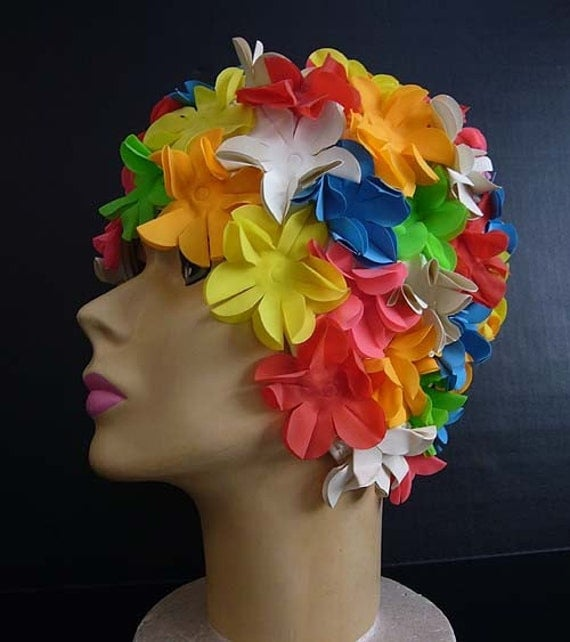 Vintage 60's Mod Flower Frilly Bathing Cap By