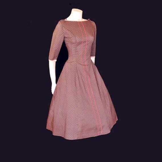 1950s dress / Vintage 50's Dress Lady Alice Strawberry Pink Ric Rac Full Skirt Dress