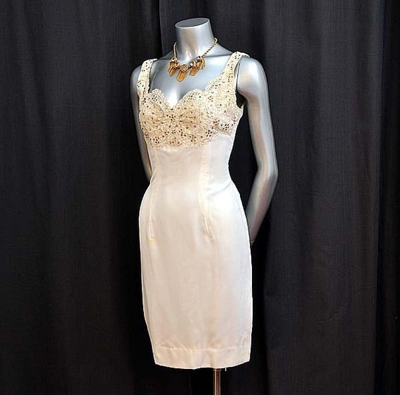Reserved for Gloria1956 Cat On A Hot Tin Roof Vintage 50's Lace Rhinestone Velvet Wiggle Dress
