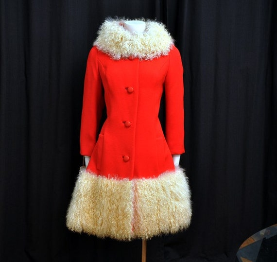 Vintage 60's Lilli Ann Coat - Mod Curly Lamb Fur Trimmed New with Tags Never Worn