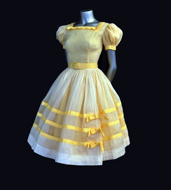 1950s dress / Vintage 50's Organza & Cotton Full Circle Skirt Dress With Bows