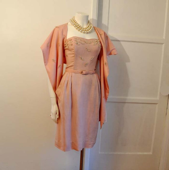 1950s Dress / Vintage 50's Pink Strapless By