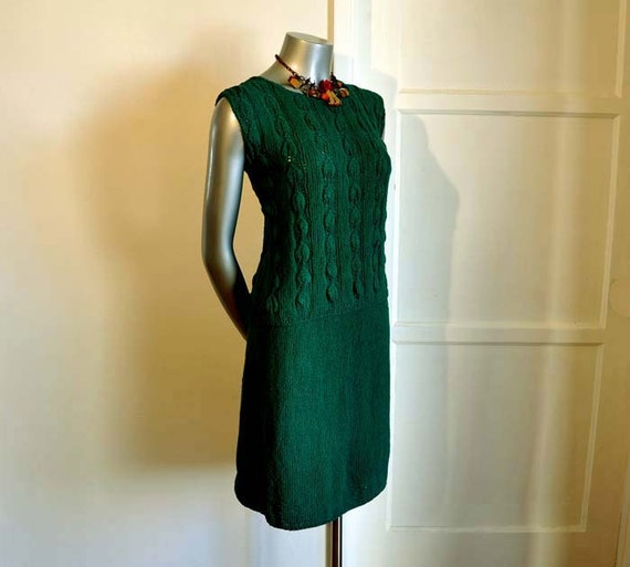 1940s sweater / Vintage 40's Green Short Sleeve Knit Sweater Top and Skirt Set