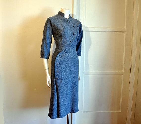 Little Miss Military Vintage 40's Avant Garde Art Deco Dress