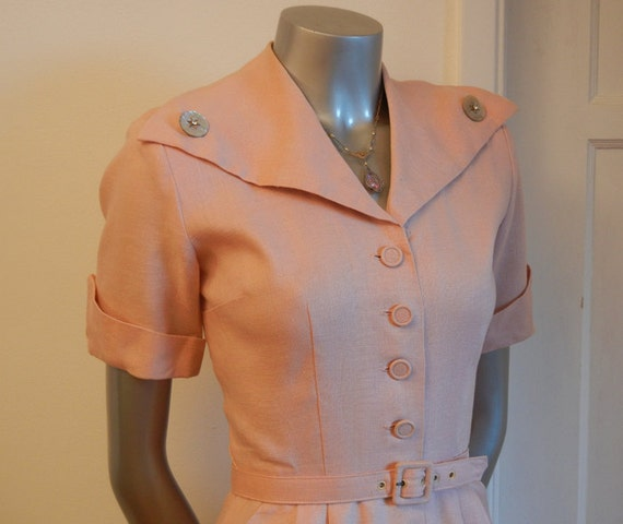 1940s dress / Vintage 40's 50's Pink Big Huge Collar Swing Dress