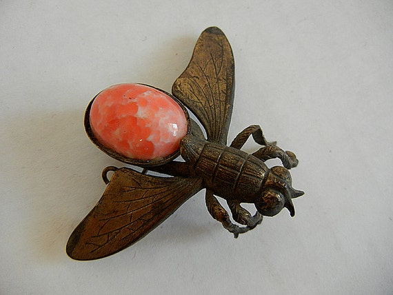 1940's Brooch / The Fly Big Vintage 40's Pin Cabochon Back