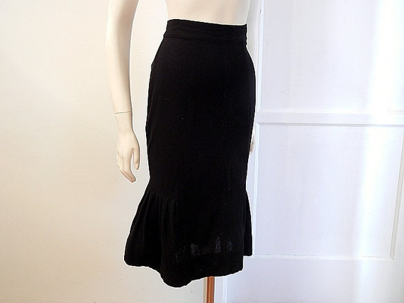 50s skirt / Vintage 1950s MAD MEN Mermaid Wool Black Pencil Kick Pleat Skirt
