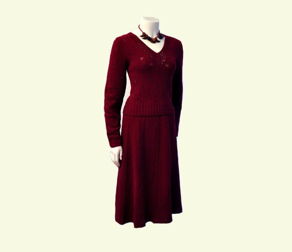 Oh My Magenta Vintage 40's Knit Sweater Top and Skirt Set