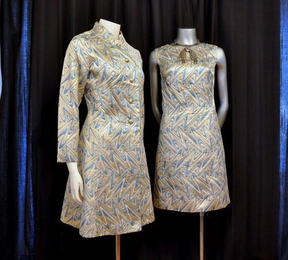 1960s dress / Funny Girl Vintage 60's Mod Zig Zag Brocade Dress and Coat Set