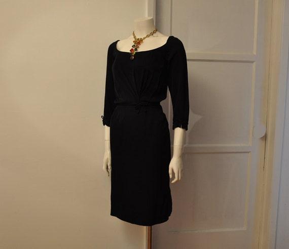 vintage dress / Sizzle in Ceil Chapman Vintage 50's Black Wiggle Cocktail Dress